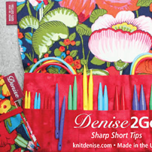 Denise2Go Interchangeable Knitting needles in red fabric case
