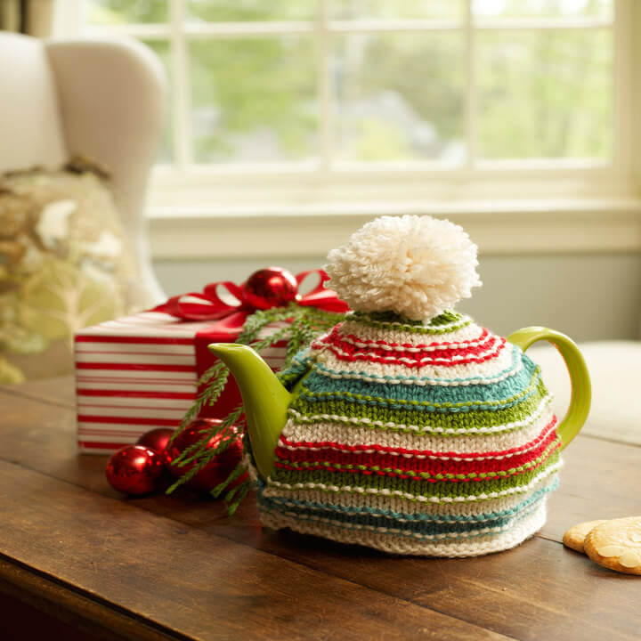 Knit Holiday Teapot Cozy Free Pattern Red Heart