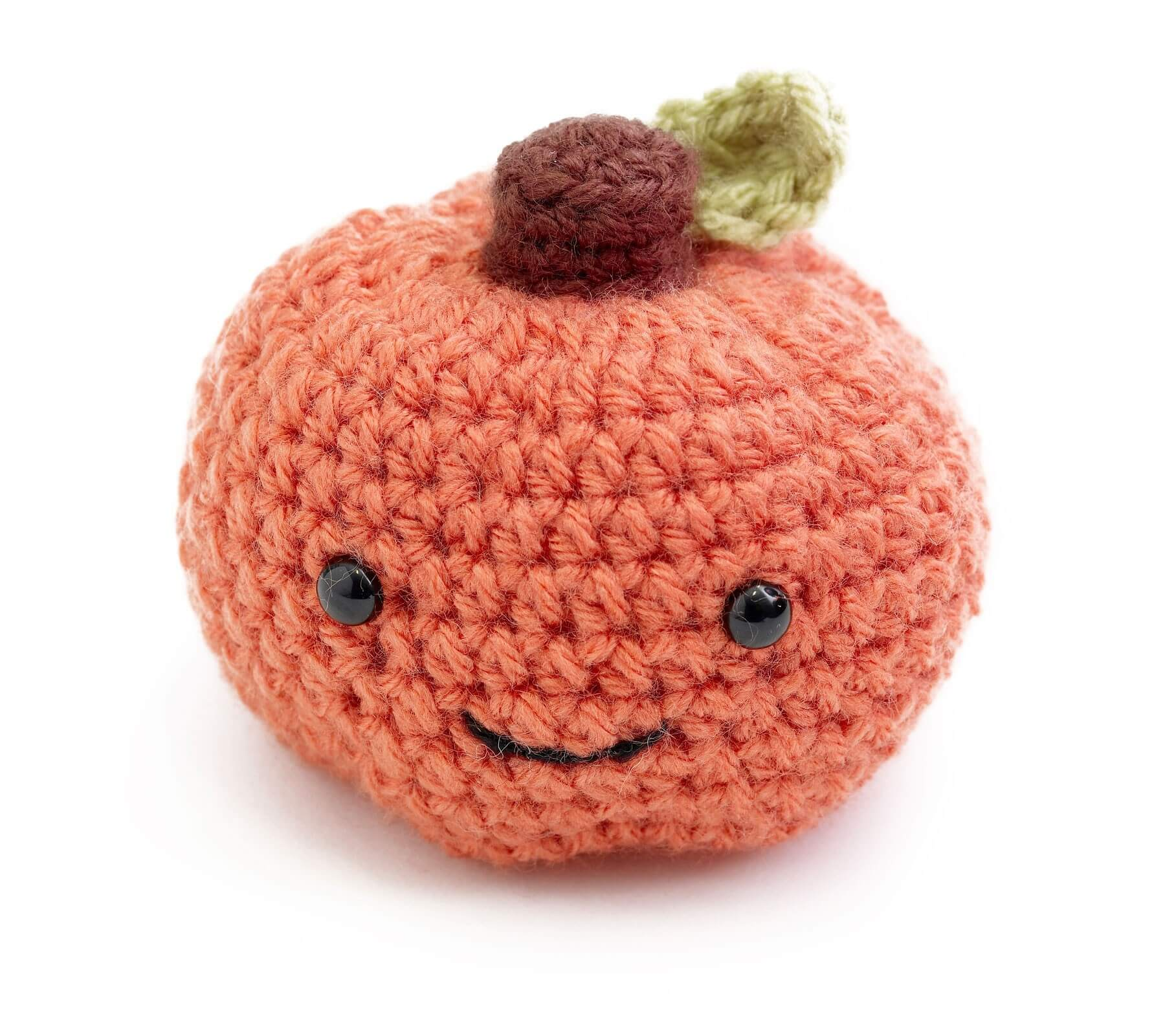 Lion Brand Free Crochet Pattern happy pumpkin amigurumi