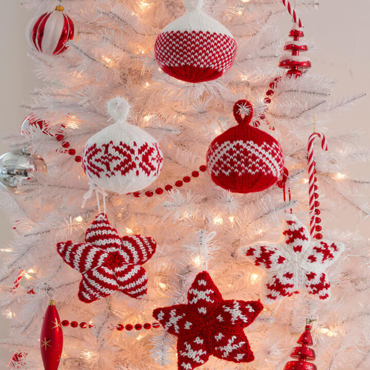 Holiday Stars and Balls Ornaments Red Heart Free Knit Pattern