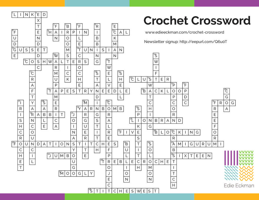 Crochet Crossword puzzle answer key