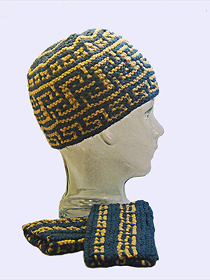 Mount Greco Hat and Mitts Mosaic Knitting Pattern by Edie Eckman