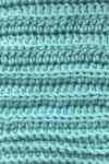 Back loop only stitches; from bottom to top: BLsc, BLhdc, BLdc
