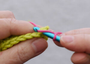 Standing single crochet Step 3