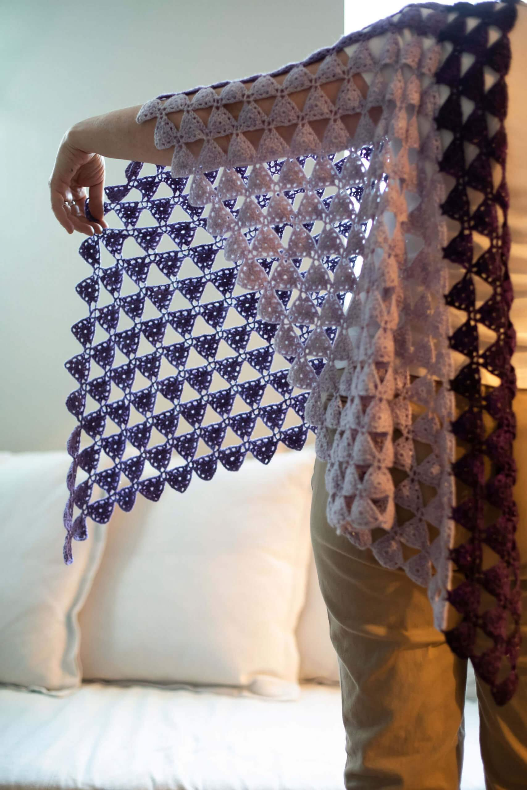 Eulerian Triangles Shawl Crochet Pattern by Edie Eckman