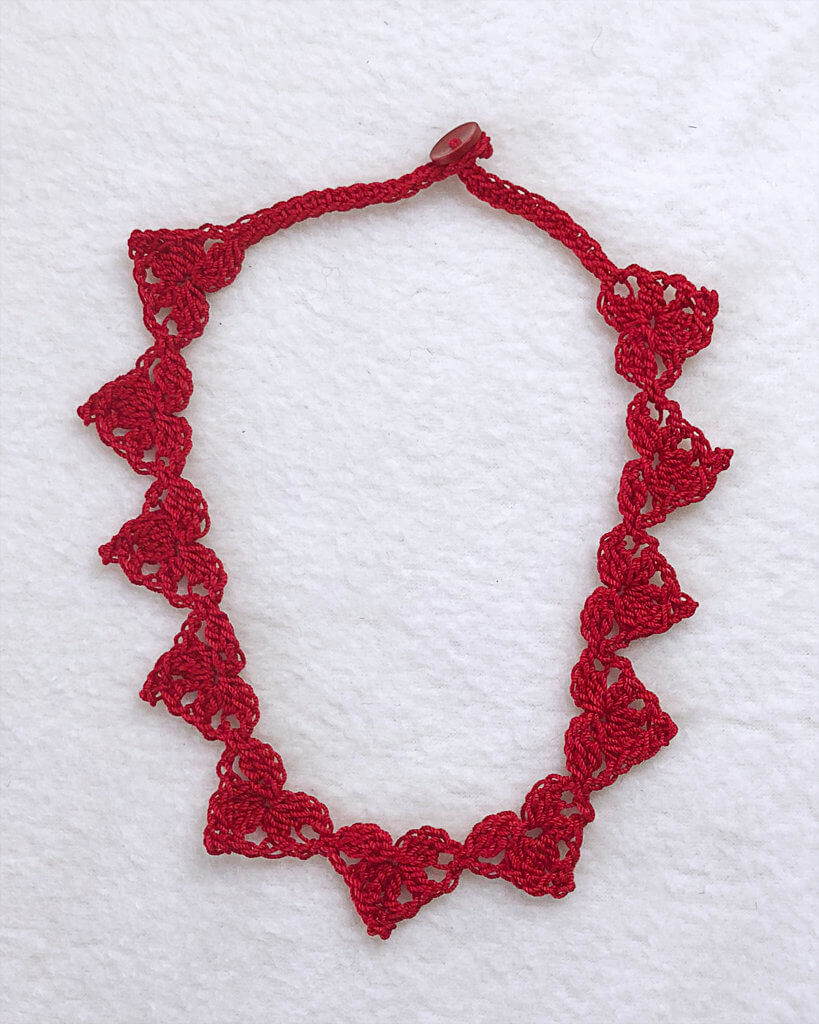 Red Thread Crochet Heart Necklace crochet pattern by Edie Eckman