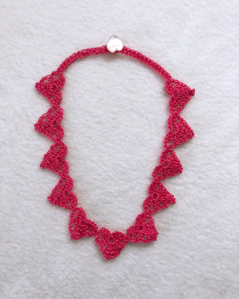 Pink Thread Crochet Heart Necklace crochet pattern by Edie Eckman
