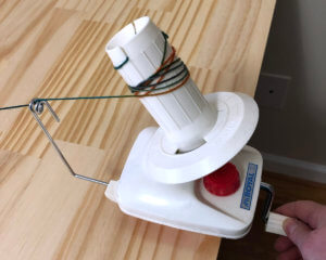 yarn winder in use