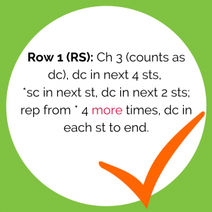 Row 1 (RS): Ch 3 (counts as dc), dc in next 4 sts, *sc in next st, dc in next 2 sts; rep from * 4 more times, dc in each st to end.