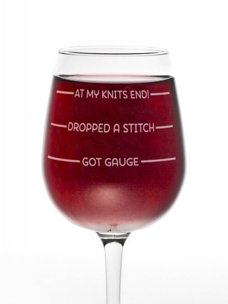At Knits End Wine Glass