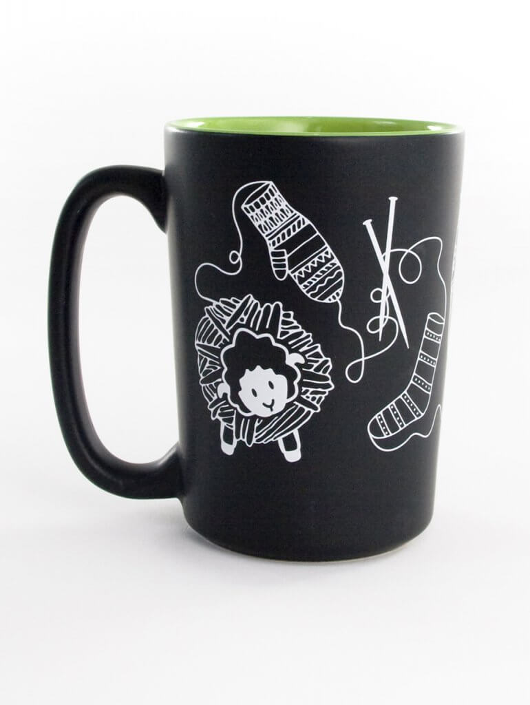 Knit Happy Lime Scribbles Mug