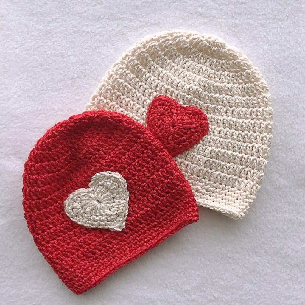 Easy Crochet Heart Hat