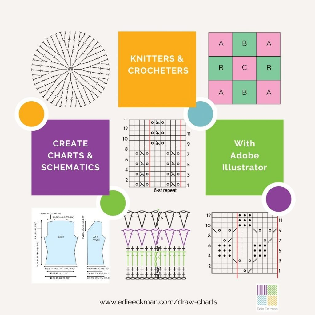 Knit & Crochet Designers Create Charts & Schematics with Adobe Illustrator-Examples of vector-based knitting and crochet symbol charts, and a sweater schematic