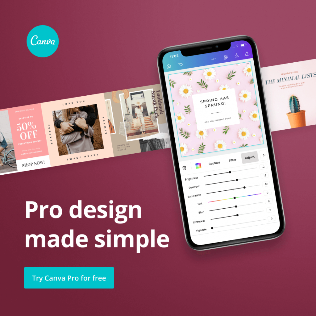Pro design made simple - Canva-smart phone showing Canva app