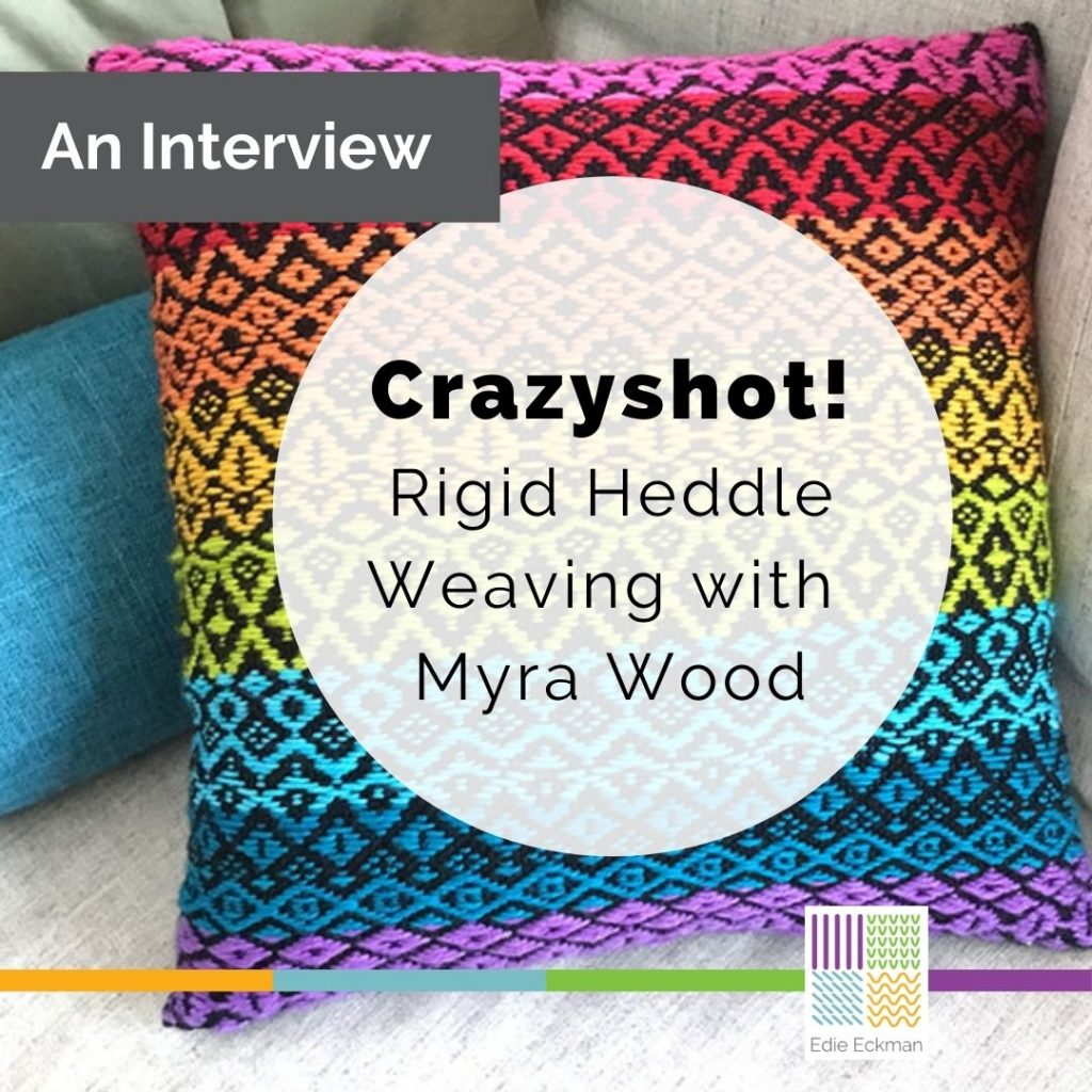 brightly colored striped woven pillow-Crazyshot! Rigid Heddle Weaving with Myra Wood-an interview