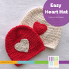 Red crocheted hat with white heart applique, white crocheted hat with red heart applique