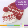 red and white knitted hats with heart pattern