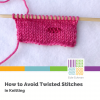 image of pink stockinette stitch with twisted stitches