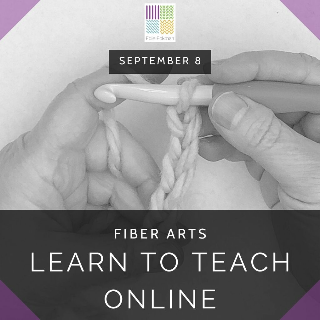 black and white photo of hands with a large crochet hook and crocheted chain-Learn to Teach Fiber Arts Online September 8