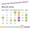 March calendar with dates marked