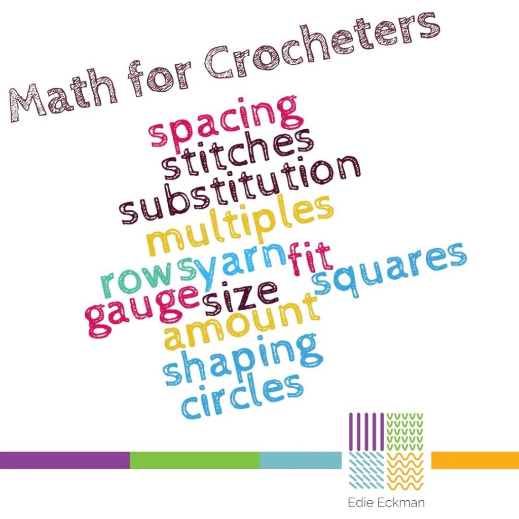 Math for Crocheters word cloud: spacing, stitches, substitution, multiples, row, gauge, fit, squares, haping, circles