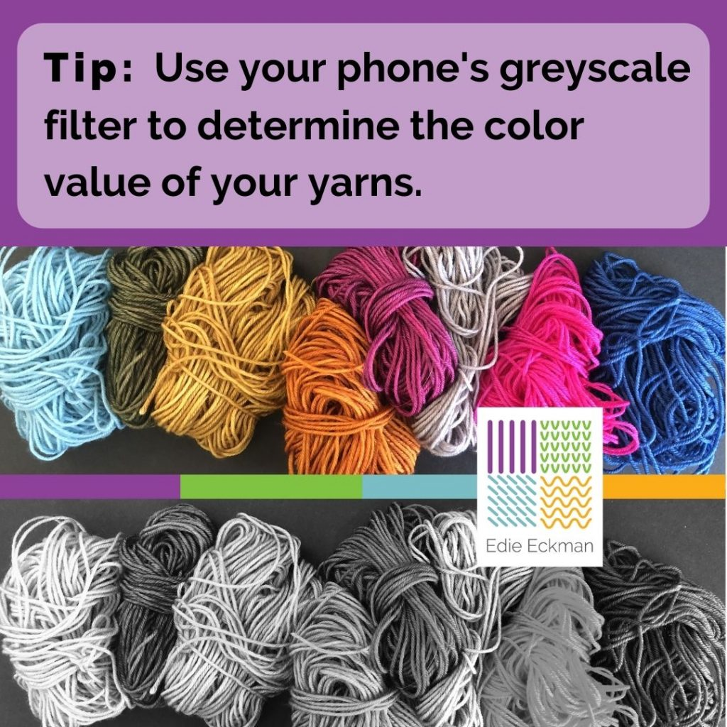Tip-Use your phone's greyscale filter to determine the color value of your yarns, with photo of colorful balls of yarn and greyscale version of same image