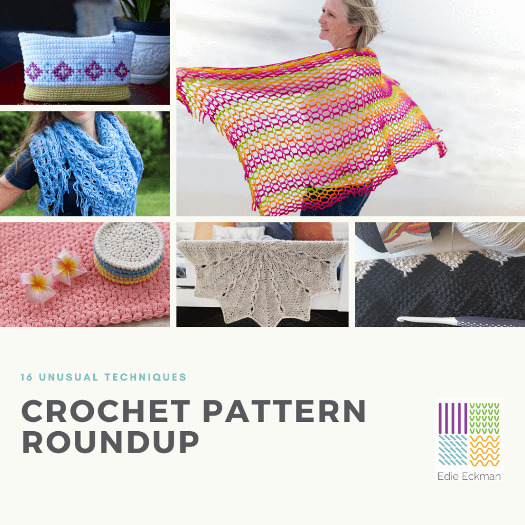 Collage of crochet patterns using usual techniques