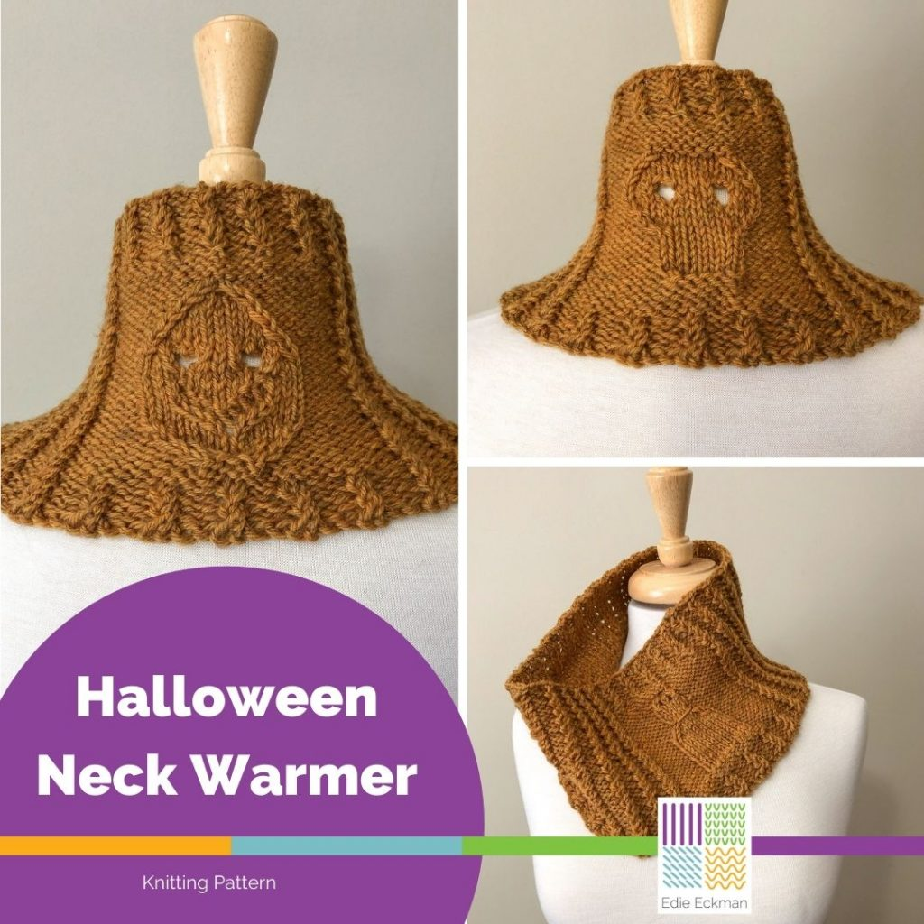 Three views of a harvest gold colored cowl with a ghost, jack-o-lantern and skull stitch pattern