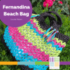turquoise, hot pink, lime green, and black crocheted bag with tassel trim, shown on a green boxwood background-Fernandian Beach Bag Crochet Pattern by Edie Eckman