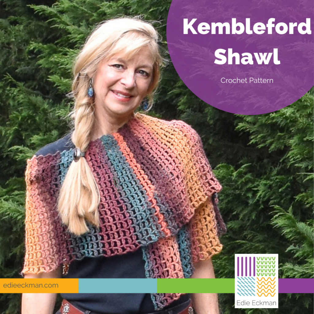 blonde model wearing multicolored Kembleford Shawl