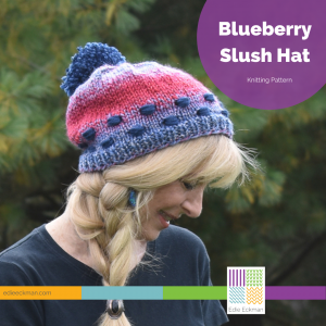 Blue and red hat on blonde woman-Blueberry Slush Hat
