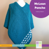 teal poncho with white slip stitch detail