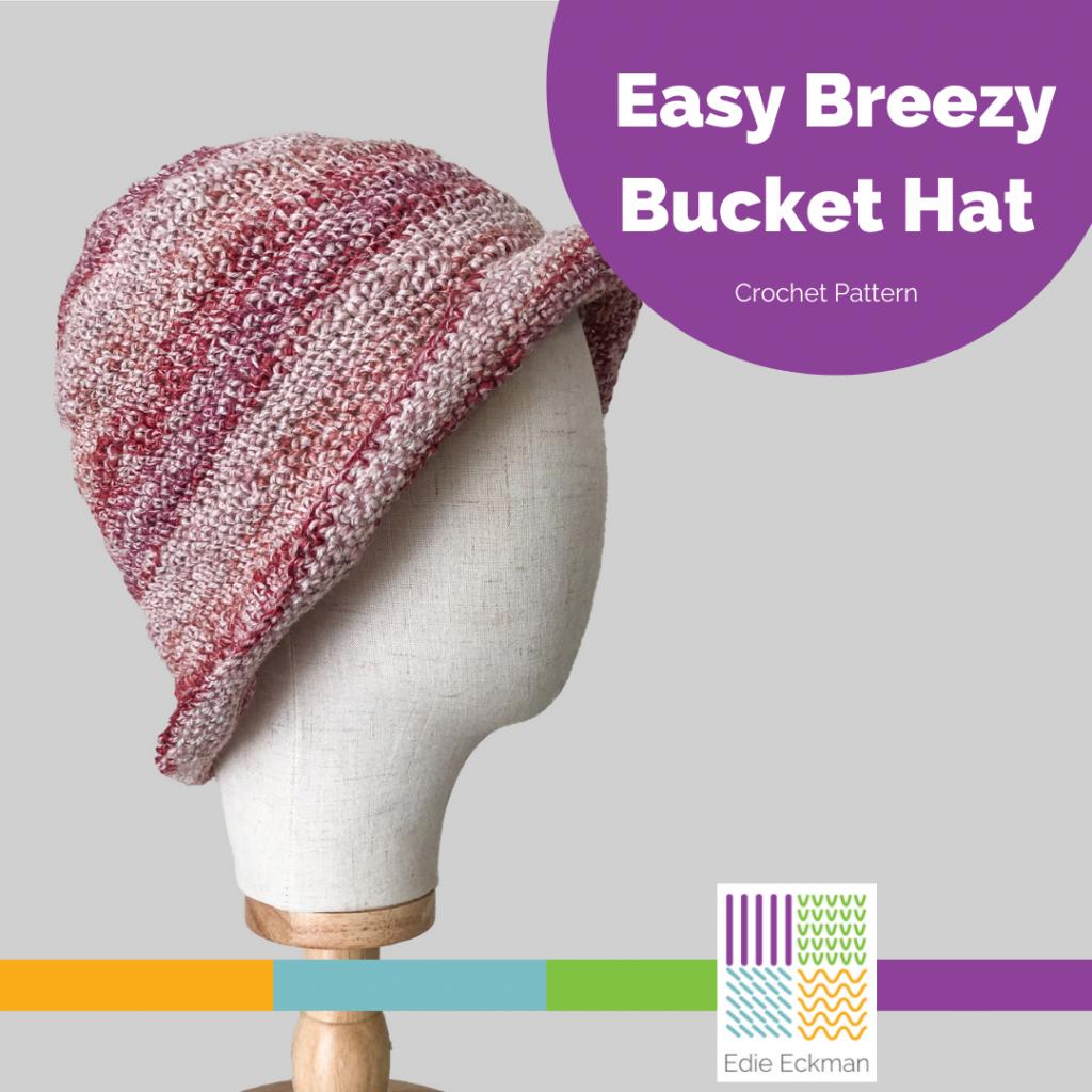 crocheted bucket hat on head form