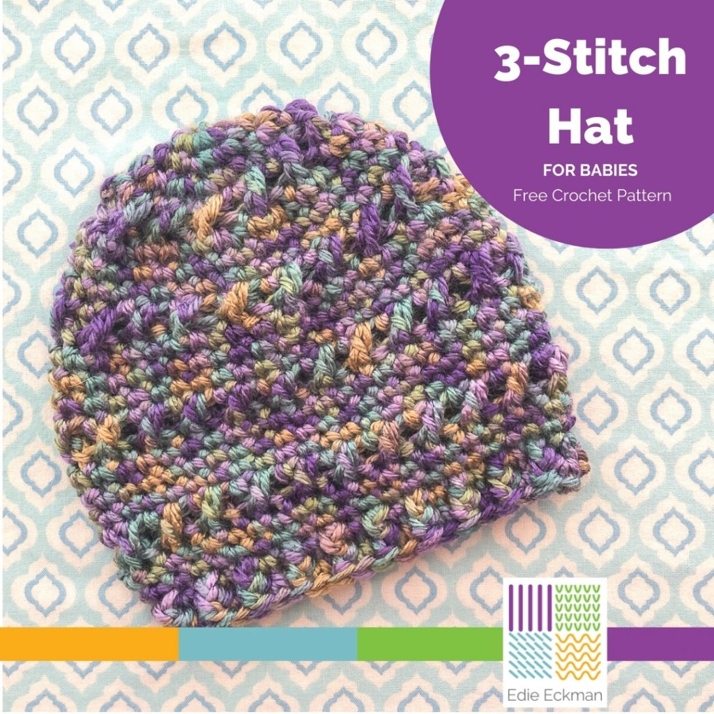 lavender and green variegated baby beanie with textured stitches 3-stitch Hat for babies free crochet pattern