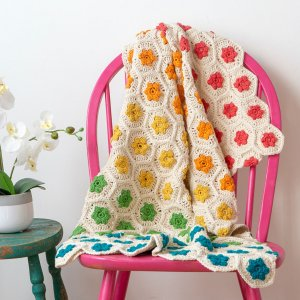 Colorful crocheted throw from WeCrochet