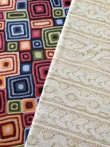 Posters of knit and crochet fabric