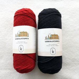 Germantown Yarn in black and red