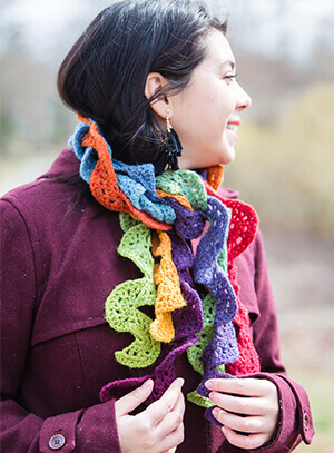 Cascade of Color Scarf Crochet Pattern designed by Edie Eckman