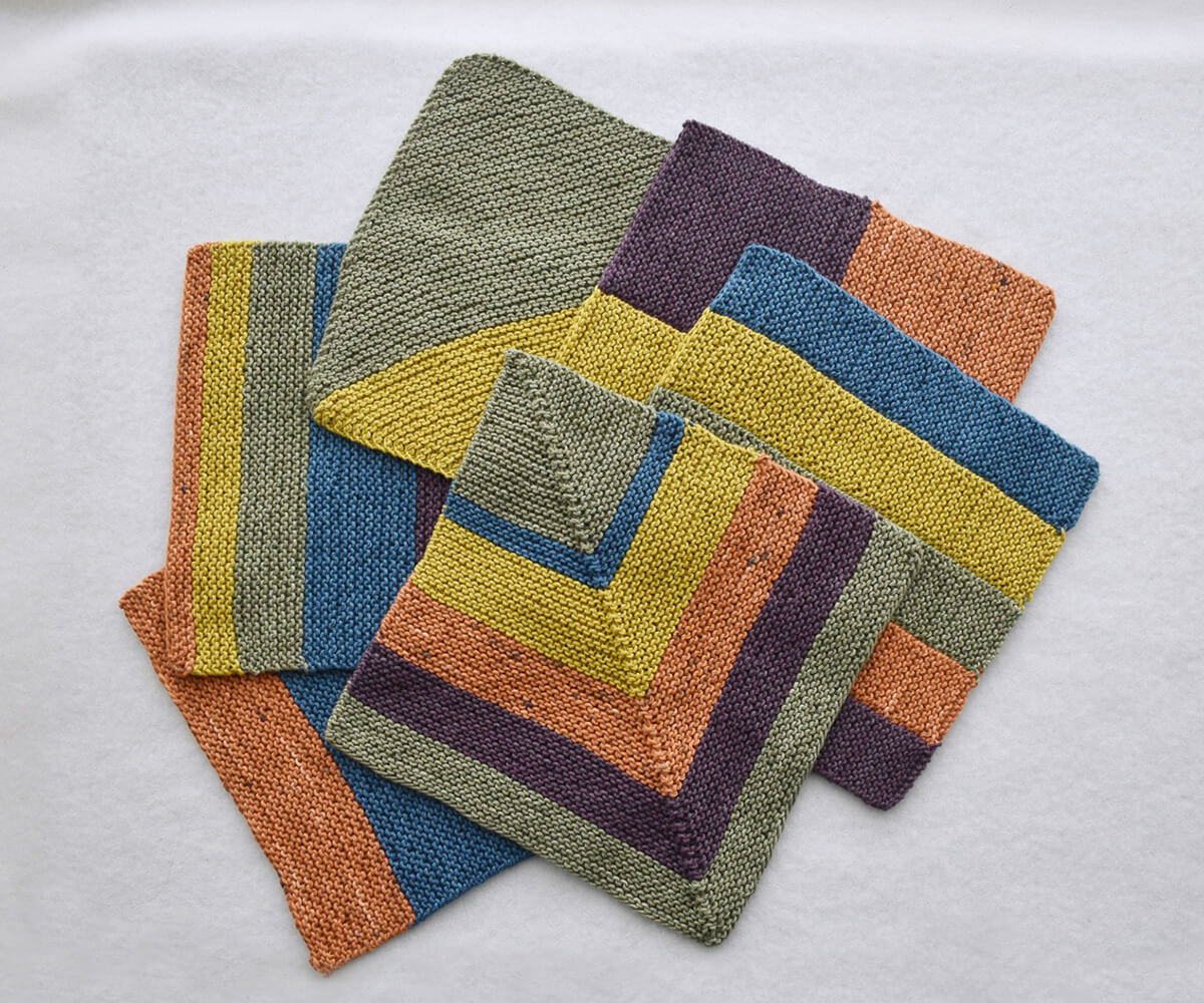 Easy Knitting Colorblock Washcloths-6 designs shown
