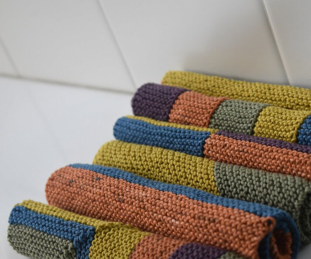 Easy Knitted Colorblock Washcloths by Edie Eckman- rolled up