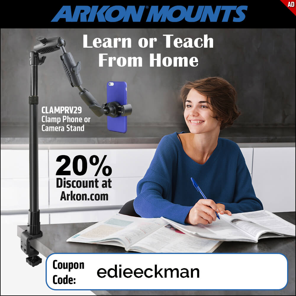 with coupon code edieeckman get 20% Arkon Mounts Clamp Phone or Camera Stand