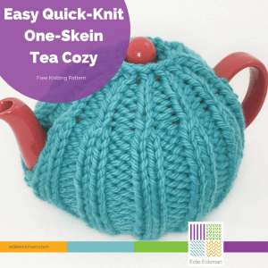 Easy Quick-Knit One-Skein Tea Cozy on red teapot