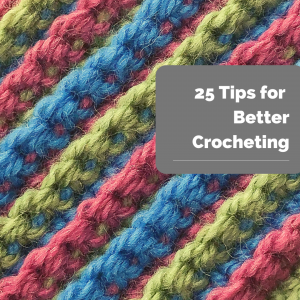 closeup of colorful crocheted stripes-25 Tips for Better Crocheting