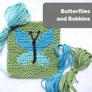 """green garter-stitch coaster with blue butterfly instarsia design, three yarn """"butterflies"""" in blue and green shades"""
