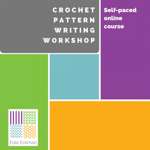 crochet pattern writing workshop colorful graphic