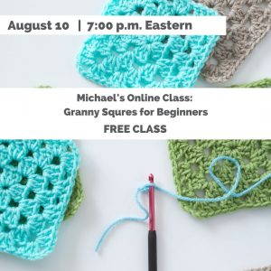 turqoise and green granny squares and a crochet hook-Granny Squares for Beginners Michaels Online Classes