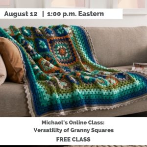 mulit-colored green granny square afghan on sofa-Versatility of Granny Squares August 12 1:00 pm Eastern