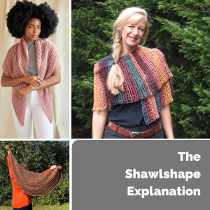 collage of three different women wearing shawls of different shapes-The Shawlshape Explanation