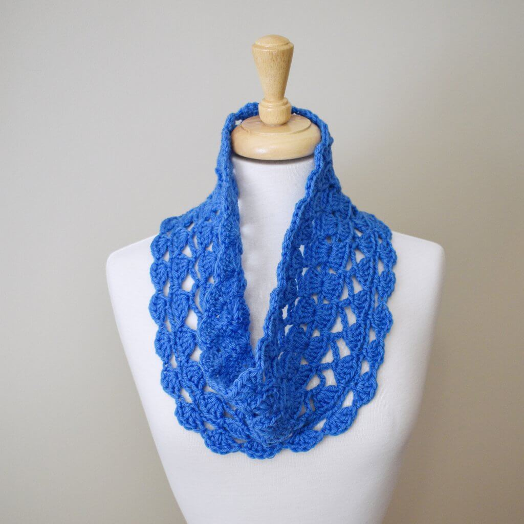 lacy blue cowl on dress form