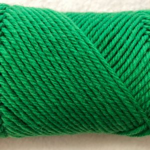 closeup of bright green Germantown yarn
